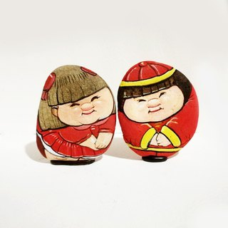 Valentine couple stone painting.