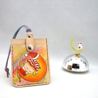 Leather ID card holder moon angel