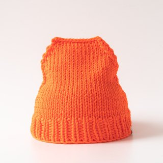 OTB113 Ladder Hand-knitted Cap - Fluorescent Orange