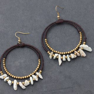White Turquoise Bead Woven Stone Earrings Hippy Hoop Dangle Earrings