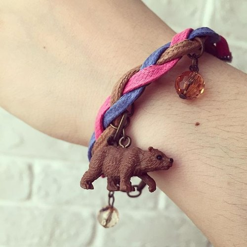 Mini brown bear animal bracelet