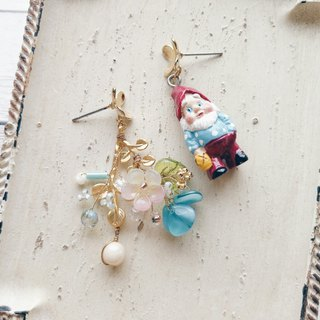 Momolico peach like earrings garden elf can be clipped