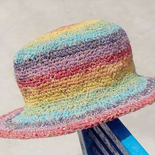 Tanabata gift limited a hand-woven cotton / hat / hat / fisherman hat / sun hat / straw hat - rainbow candy color colorful striped handmade hat