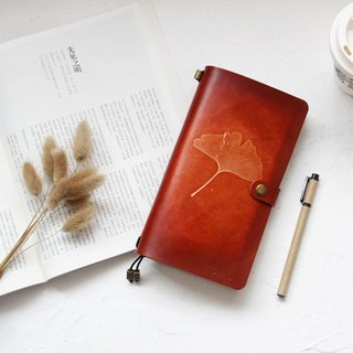 Ru Wei Original Ginkgo biloba hand-stained leather handbook diary TN travel the red-brown 17cm * 10cm (Portable Edition) customized