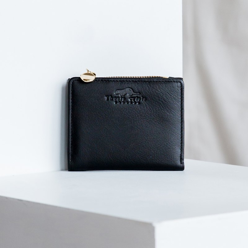 PEONY - SOFT COW LEATHER SHORT WALLET WITH COIN PURSE -BLACK