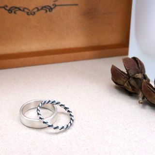 5mm Matte Texture Ring - Silver + Thick Line Ring - Two Piece Silver Ring