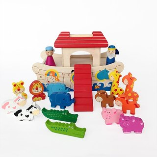 Kids Wooden Educational Pretend Role Play Noah's Ark Playset Toy