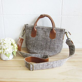 Cross-body Sweet Journey Bags S size Botanical Dyed Cotton Natural-Brown Color