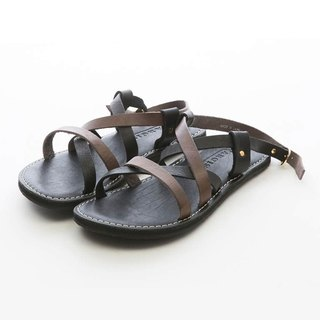 ARGIS Vibram two-tone leather Roman sandals #33125 black/grey - Japanese handmade