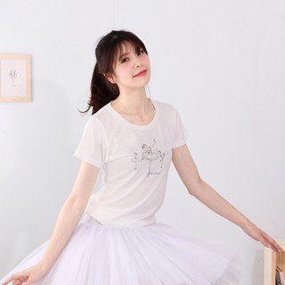Yizhi Ballet | Swan Lake White Swan Princess Short Sleeve Ballet Round Neck T-Shirt