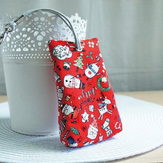 Lovely [Japanese cloth] Happy Christmas three-dimensional tea bag zipper key case, ID card available, red