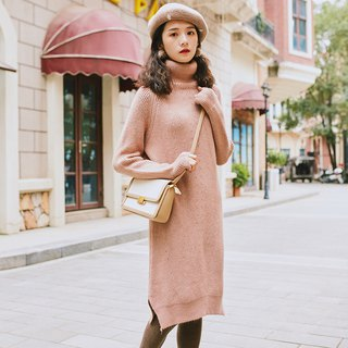 2018 women's winter wear high collar raglan sleeves long dress dress
