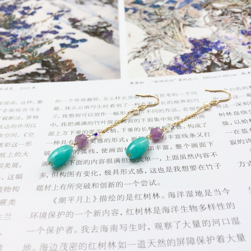 14kgf-Amazonite and Amethyst pearls earrings