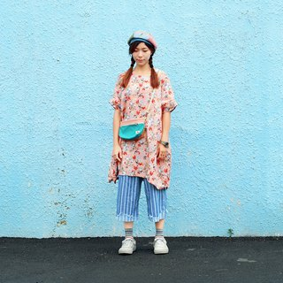 Maverick Village cotton and linen comfortable loose dress long coat [Pink Blue Flower] J-40 Limited