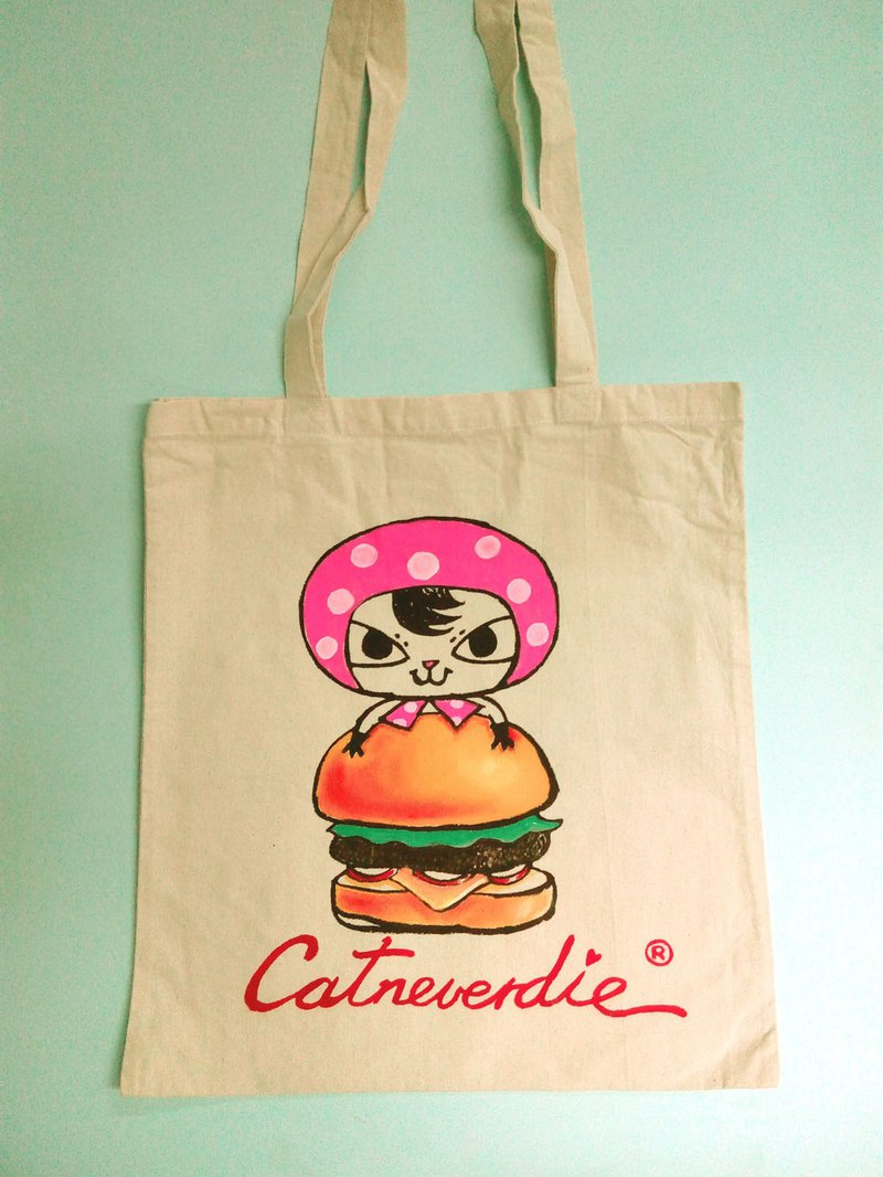 Hong kong design Burger cat handpaint tote bag canvas