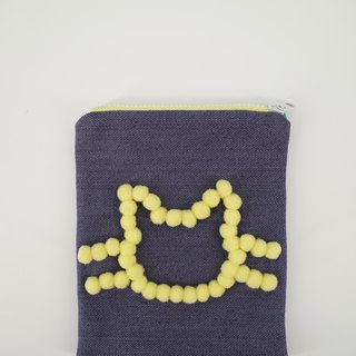Denim Pouch with Pom Pom Cat in Yellow
