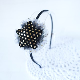 Children headdress. Black velvet star with mesh yarn hoop hoop hoop