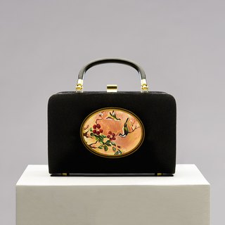 CoinQian Flower Vintage Suede Gold Box Box Black