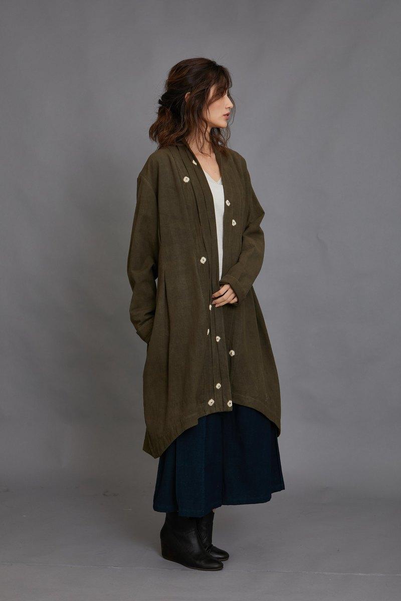 開襟長外套-綠-公平貿易