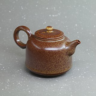 Soda glaze curved mouth urn shape is teapot hand pottery tea props