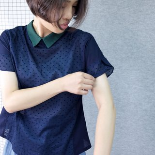 hikidashi small green collar fight deep blue French sleeve shirt