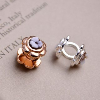Italian handmade shell carving light jewelry - beaded flower decoration (silver / rose gold) - CH804