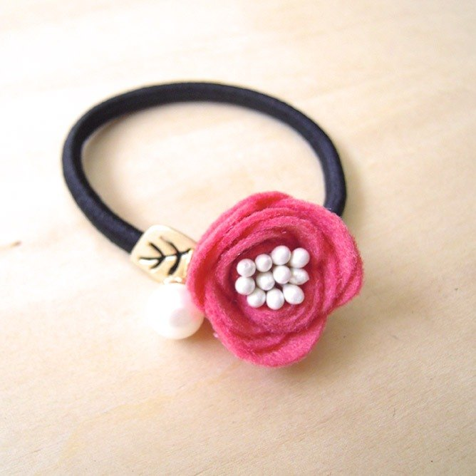 RARAPUPU Flower Pearl Hair Tie Plum Red