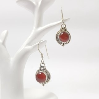 [ColorDay] red agate classic sterling silver earrings (May birth stone) _Red Agate Silver Earring_ red い メ ノ ウ
