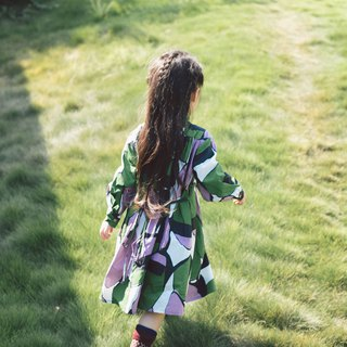 Organ purple green block shirt dress dress stand collar long sleeve loose girls wear candy color printing