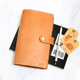 Small orange peel vegetable tanned leather A6 6 hole loose-leaf notebook account
