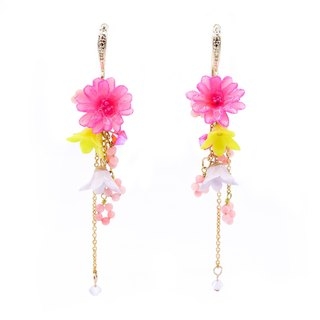 Pamycarie ZINNIA Mermaid Gold-plated 925 Silver Floral Rain Earrings