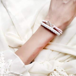 Handmade Double Braided Infinity Bracelets–white and pink limited