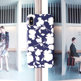 Dark blue white flower phone case