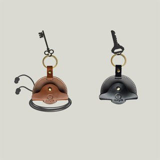 Cava slip - Leather key ring / thread reel - Cocoa / Coffee ‧ Oil wax leather