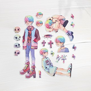 Teenager hand painted watercolor sticker 20 into