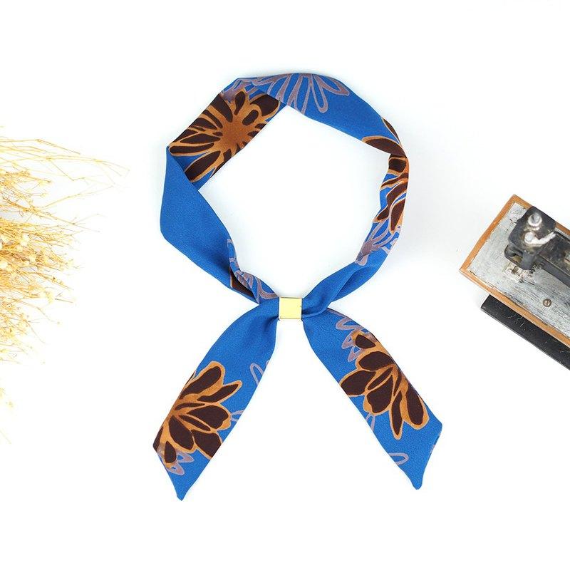 小牛村 手工小領巾 髮帶 輕薄絲巾 復古【彩繪大花瓣】寶藍 AS-12