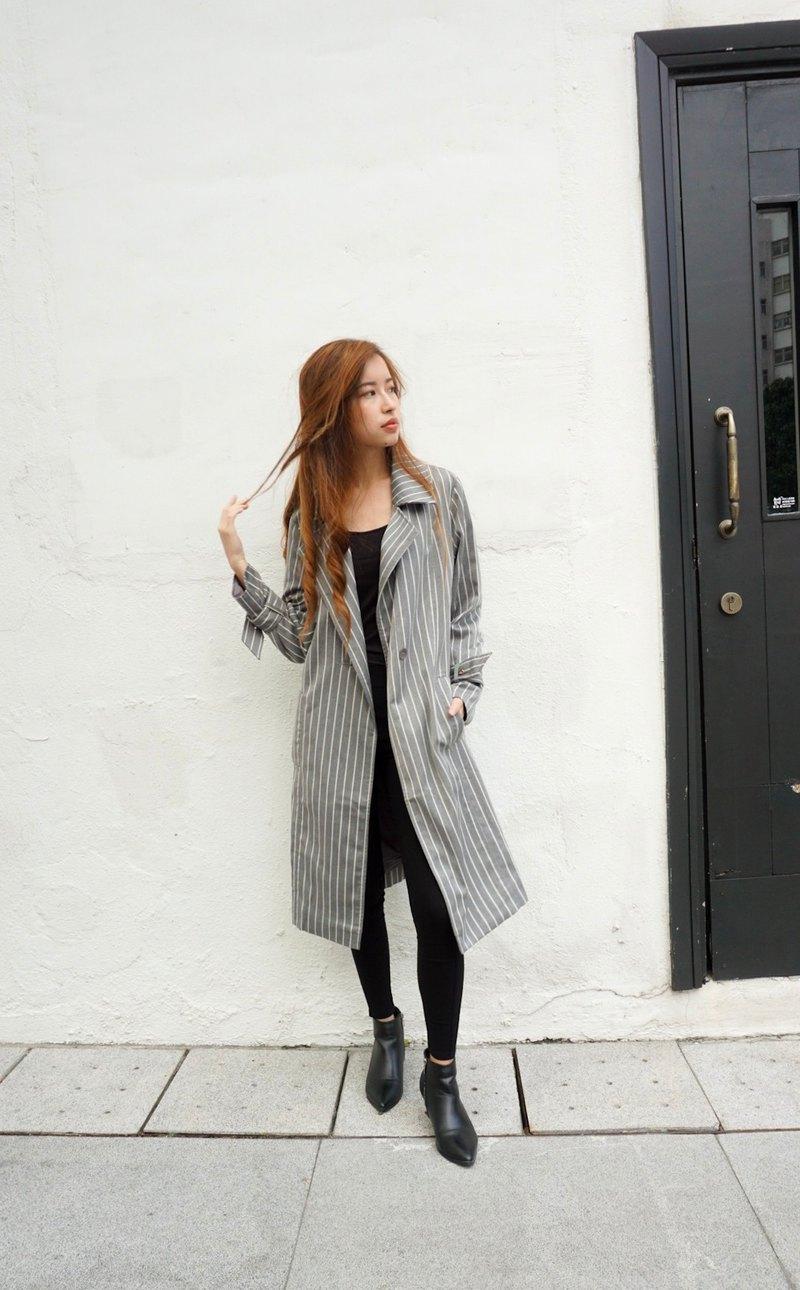 間條大衣  灰色