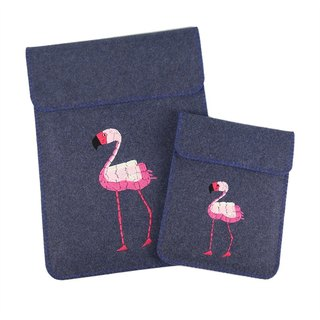 Embroidery custom - Flamingo Macbook11 \ 12 \ 13 \ 15 inch imported wool felt computer bag + power package set