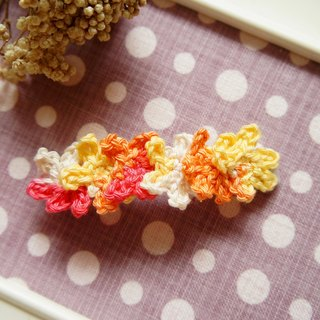 Hand-woven flowers series - a lot of flowers romantic style two-piece hairpin / hair ornaments / spring clip (orange section dye) ~