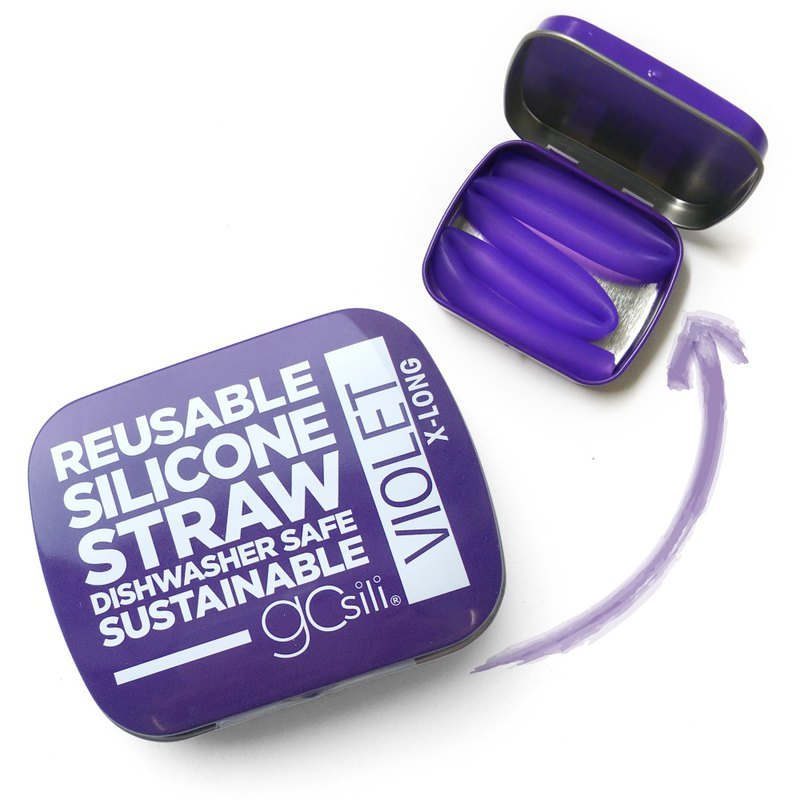 [US GoSili Platinum Silicone] Single Straw Straw Pocket Set (27cm) Violet