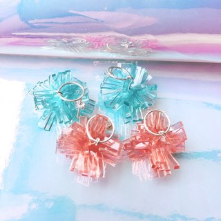 Color crystal coral sterling silver earrings