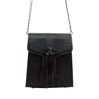 Antique tassel bag Antique Tassel Bag / Cowhide embossed / with suspenders / black