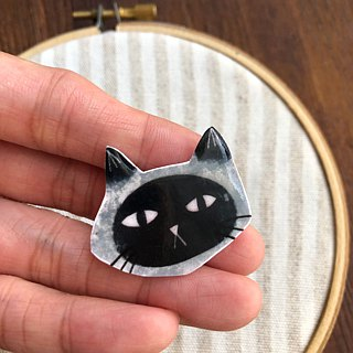 Cat brooch handmade illustration jewelry pin badge