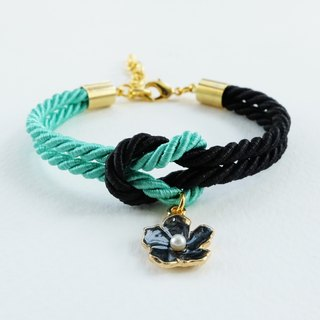 Mint and Black tie the knot bracelet with flower charm
