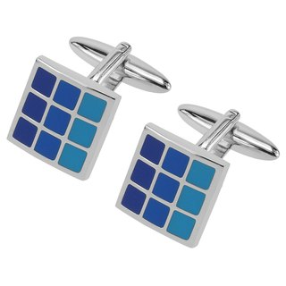 Blue Tonal Enamel Checker Cufflinks