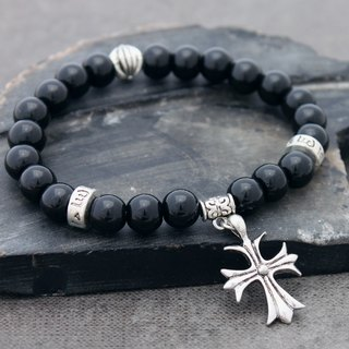 Cross Charm Beaded Bracelets Stone Black Men Unisex Tibetan