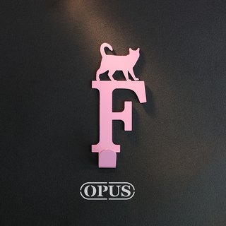 When the cat comes with the letter F - hook (pink) / wall ornaments hook / furniture rack / living storage / racks / shape hook / no trace / HO-ca10-F (P)