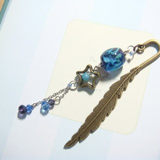 Grapefruit Forest Handmade Glass - Feather Bookmark (Small) - Starlight (Nightlight)