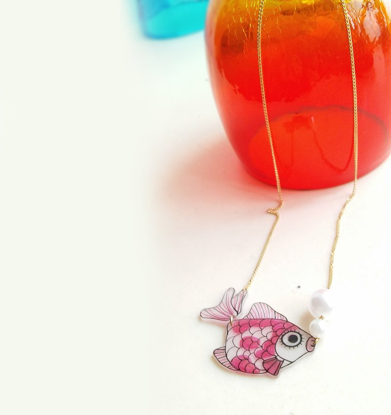 Fish Best friend series-  Red gold fish - Hand Drawn - necklace