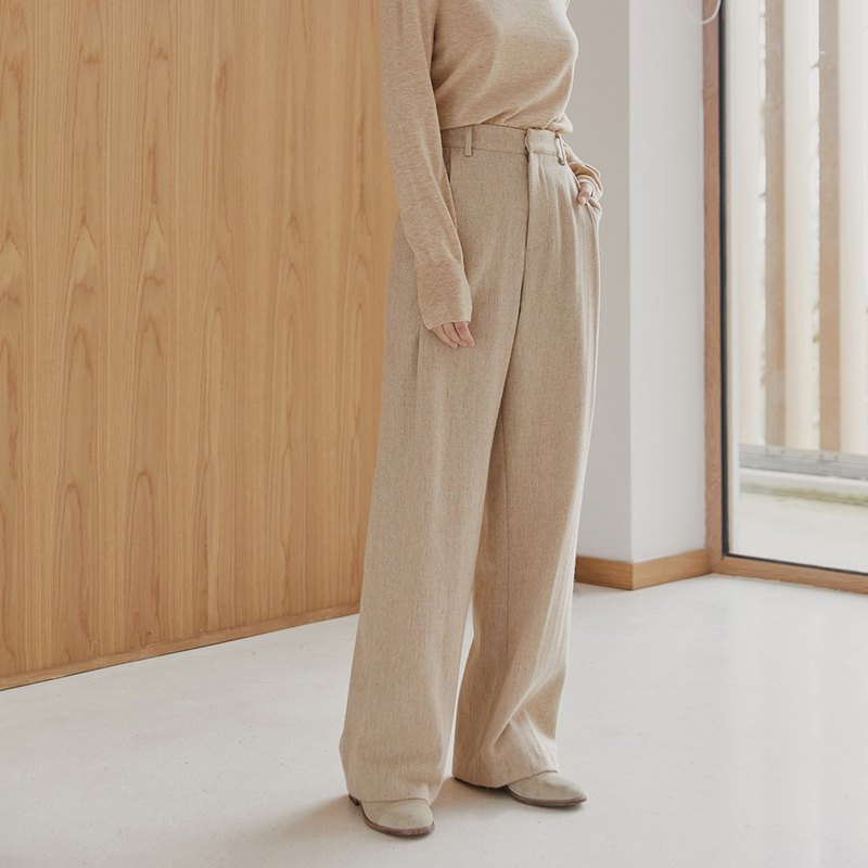 Oatmeal drape full wool mopping trousers wool wide pants loose straight high waist suit wide leg pants